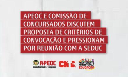 APEOC E COMISSÃO DE CONCURSADOS DISCUTEM PROPOSTA DE CRITÉRIOS DE CONVOCAÇÃO E PRESSIONAM POR REUNIÃO COM A SEDUC