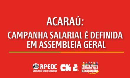 ACARAÚ: APEOC DEFINE CAMPANHA SALARIAL 2021 EM ASSEMBLEIA GERAL