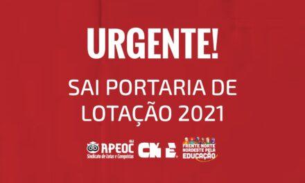 URGENTE! SAI PORTARIA DE LOTAÇÃO 2021