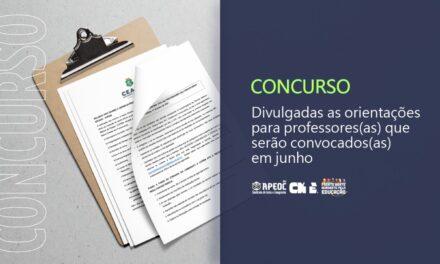 CONCURSO: DIVULGADAS AS ORIENTAÇÕES PARA PROFESSORES(AS) QUE SERÃO CONVOCADOS EM JUNHO