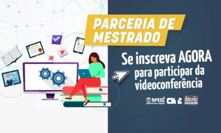 PARCERIA DE MESTRADO: SE INSCREVA AGORA PARA PARTICIPAR DA VIDEOCONFERÊNCIA