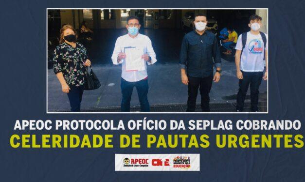 APEOC PROTOCOLA OFÍCIO DA SEPLAG COBRANDO CELERIDADE DE PAUTAS URGENTES #AgilizaSEPLAG