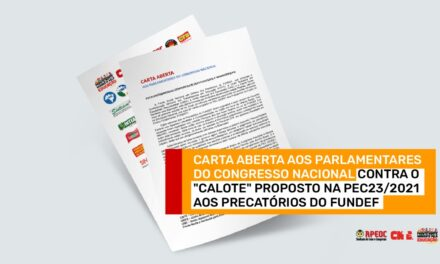 CARTA ABERTA AOS PARLAMENTARES DO CONGRESSO NACIONAL <br><h3>EXCELENTÍSSIMOS(AS) SENHORES(AS) DEPUTADOS(AS) E SENADORES(AS)</h3>