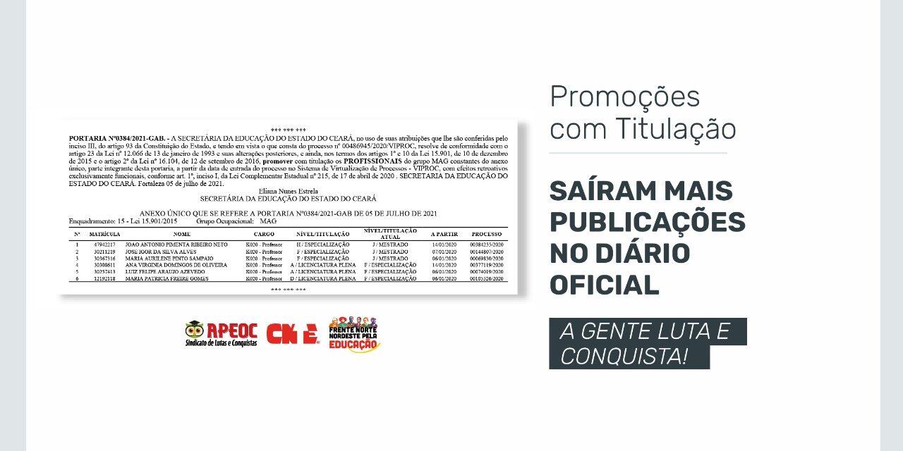 PROMOÇÕES COM TITULAÇÃO: SAÍRAM MAIS PUBLICAÇÕES NO DIÁRIO OFICIAL