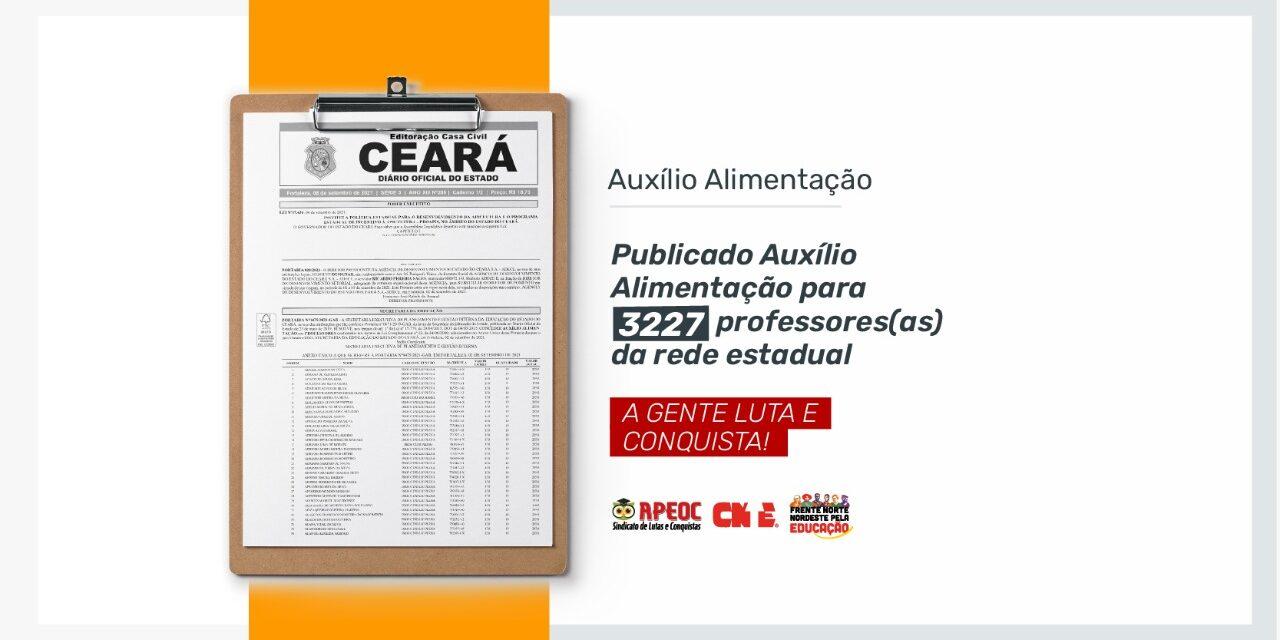PUBLICADO AUXÍLIO ALIMENTAÇÃO PARA 3227 PROFESSORES(AS) DA REDE ESTADUAL