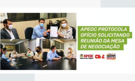 APEOC PROTOCOLA OFÍCIO SOLICITANDO REUNIÃO DA MESA DE NEGOCIAÇÃO