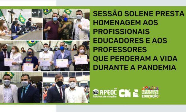 SESSÃO SOLENE PRESTA HOMENAGEM AOS PROFISSIONAIS EDUCADORES E AOS PROFESSORES QUE PERDERAM A VIDA DURANTE A PANDEMIA
